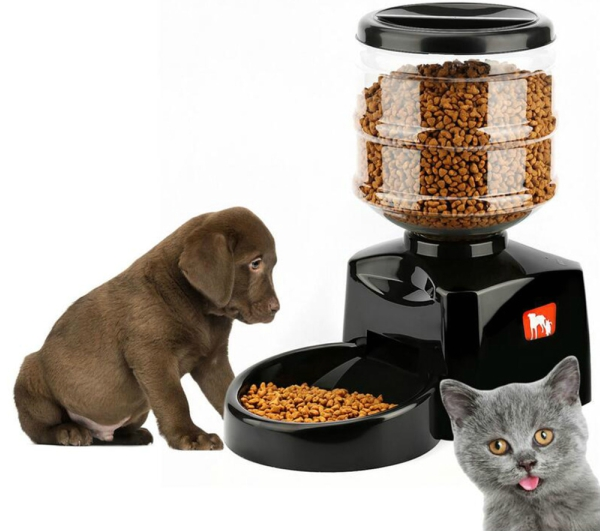 OUTAD 5.5L Automatic Pet Feeder with Voice Message Recording and LCD Screen Large Smart Dogs